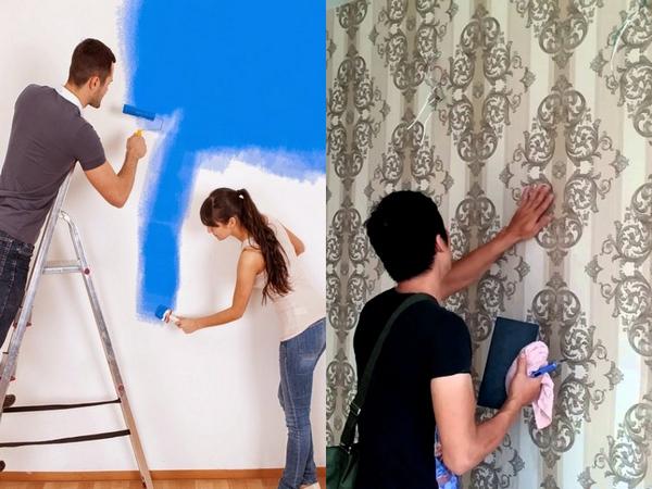 Xét về độ bền của giấy dán tường và sơn tường