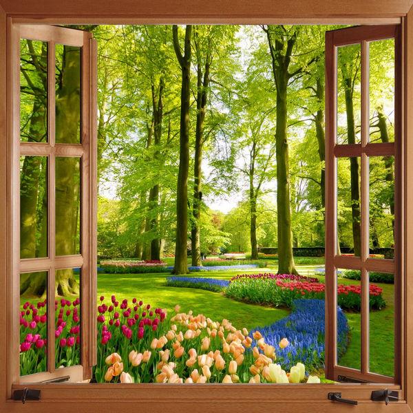 Lựa chọn địa chỉ mua tranh dán tường hình cửa sổ chất lượng