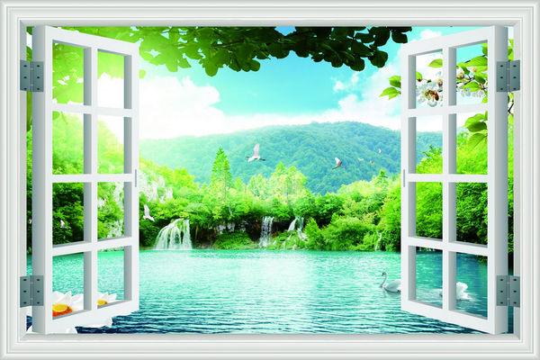Lựa chọn tranh dán tường hình cửa sổ theo màu sắc