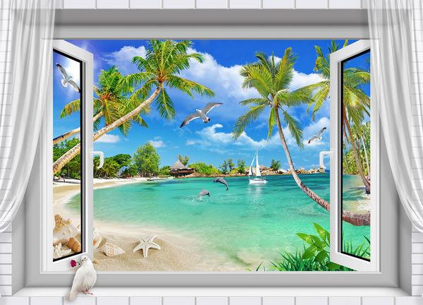Chọn tranh dán tường hình cửa sổ theo phong thủy