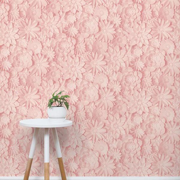 Những mẫu giấy dán tường màu hồng cực xinh mà không hề sến